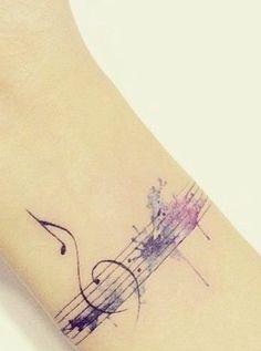 Music Lover Cute Watercolor Wrist Tattoos