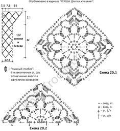 Выкройка, схемы узоров с описанием вязания крючком туники из круговых мотивов размера 46-48.