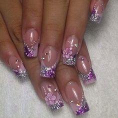 Nageldesign Claudia Nails pg Keeping The Weeds Out - A Must! Purple Nail Art, Purple Nail Designs, Pretty Nail Art, Glitter Nail Art, Cute Acrylic Nails, Cute Nail Designs, Acrylic Nail Designs, Fancy Nails, Bling Nails