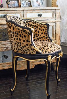 Add an animal print furniture to your home - a leopard chair Decor, Home, Gold Chair, Chair, Furniture, Printed Chair, Interior Design, Vintage Chairs, Beautiful Chair