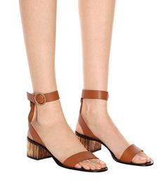 CHLOÉ Qassie Leather Sandals, Ocre Delight