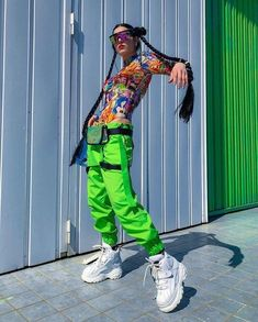 It girls - Cyber girl - Cyber girl - Outono - Street Style Neon Outfits, Crazy Outfits, Tumblr Outfits, Grunge Outfits, Girl Outfits, Cute Outfits, Swaggy Outfits, Tokyo Street Fashion, Tokyo Street Style