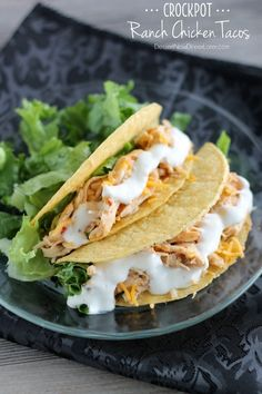 Crockpot Ranch Chicken Tacos - Dessert Now, Dinner Later! Slow Cooker Recipes, Crockpot Recipes, Chicken Recipes, Cooking Recipes, Dinner Crockpot, Taco Dinner, Crockpot Dishes, Chicken Meals, Chef Recipes