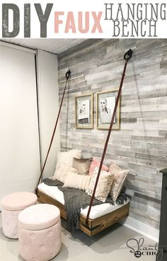 Build this DIY Faux Hanging bench with only $100 in lumber! Free plans and how-to video at www.shanty-2-chic.com Perfect for a daybed, floating bench, floating bed, playroom, couch, floating couch, hanging bed. via @shanty2chic