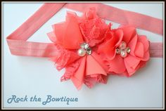 Coral Flower Headband Lace Chiffon Satin Rolled Rose Flower Elastic Photography Headband for Newborn, Baby, Toddler, Kids, Teen, Adult by RocktheBowtique on Etsy