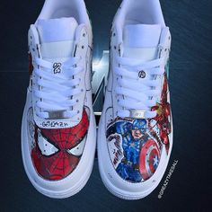 AIRVENGERS so happy with how these came out and had so much fun making them and all the content to go wid it ENJOY💜 All Nike Shoes, Nike Shoes Air Force, White Nike Shoes, Hype Shoes, Custom Sneakers, Custom Shoes, Nike Custom, Jordan Shoes Girls, Girls Shoes