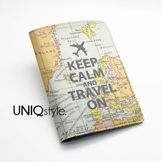 Keep Calm and travel on - Passport Holder Case Travel Wallet PU Leather Cover - world map - or custom quote text - L71