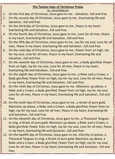 12 days of Christmas Praise Song to the Tune of the 12 Days of Christmas Days Of Christmas Song, Christmas Songs Lyrics, Merry Christmas, Christmas Program, Christmas Poems, Christmas Party Games, Christmas Traditions, Christmas Holidays, Christmas Decorations
