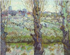 vincentvangogh-:  View of Arles, Flowering Orchards (1889)- Vincent van Gogh.