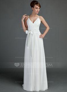 Wedding Dresses - $99.99 - A-Line/Princess V-neck Floor-Length Chiffon Charmeuse Wedding Dress With Ruffle Sash (002001337) http://jjshouse.com/A-Line-Princess-V-Neck-Floor-Length-Chiffon-Charmeuse-Wedding-Dress-With-Ruffle-Sash-002001337-g1337?ver=0wdkv5eh