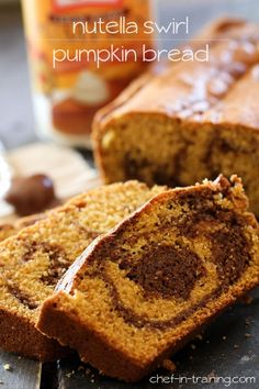 Nutella Swirl Pumpkin Bread...This bread combines two fabulous ingredients into one moist and delicious recipe!