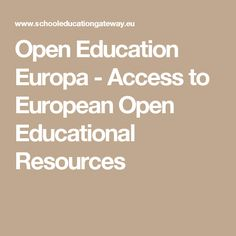 Open Education Europa - Access to European Open Educational Resources
