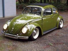 olive green vw beetle soft top