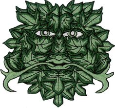 Green Man Sew On/Iron Embroidered Patch 8.5cm X 9cm (3 1/4
