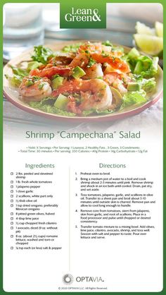 Shrimp Campechana Salad - OptaviaDon't be intimidated by the name, this salad is both health and down to earth! Shrimp Campechana is the Mexican version of shrimp cocktail; a mix of shrimp and fresh salsa with a boost of flavor and nutrition thanks t Lean Protein Meals, Lean Meals, Green Shrimp Recipe, Shrimp Recipes, Healthy Eating Habits, Healthy Fats, Medifast Recipes, Healthy Recipes, Easy Recipes