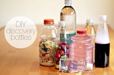 Discovery bottles. Awesome ideas. Good idea for something to distract girls during church.
