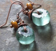 Glass and copper earrings...love!