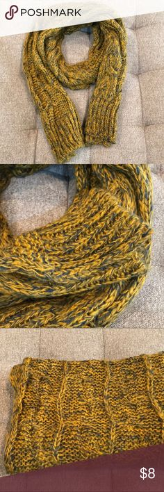 """Long scarf in mustard and blue Long scarf in mustard yellow and blue. Measures about 80""""x15"""". Long length makes it excellent for cold weather and wrapping up. :) Accessories Scarves & Wraps"""