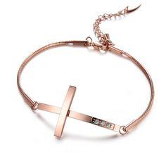 Бесплатная Доставка Оптовая Продажа Ювелирных изделий Крест из нержавеющей стали роуз позолоченные циркон браслеты для женщин/леди подарочной LGS694