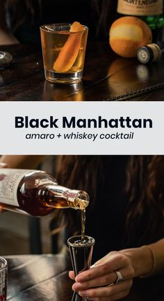 The black Manhattan cocktail is an amaro version of the classic with a more earthy herbal background. Delicious. Whiskey Cocktails, Easy Cocktails, Classic Cocktails, Cocktail Recipes, Good Whiskey, Whiskey Sour, Manhattan Recipe, Types Of Cocktails, Manhattan Cocktail