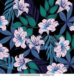 tropical flower pattern - bu vektörü Shutterstock'ta satın alın ve başka görseller bulun. Tropical Flowers, Flower Patterns, Image, Doodle Flowers, Floral Patterns