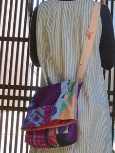 Y様ご予約品☆銘仙と紬で楽しいパッチ♪斜め掛けバッグの画像3枚目