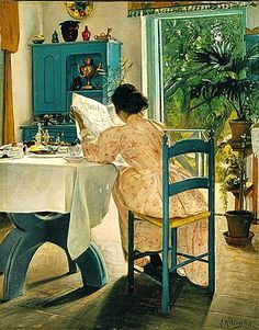 At Breakfast, Laurits Andersen Ring 1898.....relaxing with a leisurely breakfast and reading the news.....