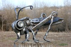 Grasshopper Metal Sculpture Insect Garden Art Yard Art Found Objects