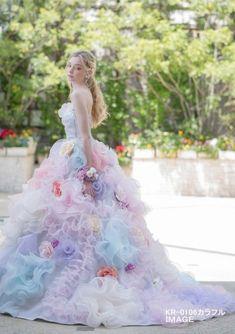 KR_0106_カラフル_image[1] Lovely Dresses, Flower Dresses, Ball Dresses, Beautiful Gowns, Ball Gowns, Fairytale Dress, Fairy Dress, Wedding Dress Patterns, Colored Wedding Dresses