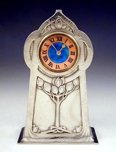 Archibald Knox art nouveau LIBERTY & Co Sterling & Enamel CLOCK