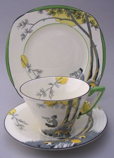 """Burleigh Ware Art Deco Cup, Saucer and Plate in the """"Pan"""" pattern"""