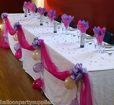 wedding table decorations diy damask | Wedding Top Table DIY Decoration Kit Organza Fabric Swags Pull Bows ...