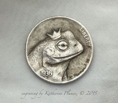 "#hobonickel carving ""Frog Prince"" by Katherine Plumer"