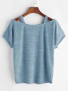 Romwe Open Shoulder Marled Knit Teeone-size