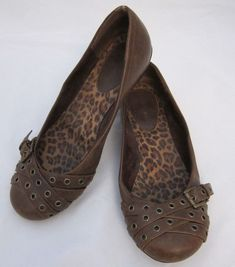 ce3950906859 Fashion Bug Faux Leather Ballet Flats w  Buckle  amp  Stud Accents Brown -  Size