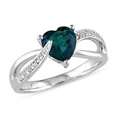 7.0mm Heart-Shaped Lab-Created Emerald and Diamond Accent Ring in Sterling Silver