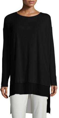 Eileen Fisher Long-Sleeve Layered Silk Tunic
