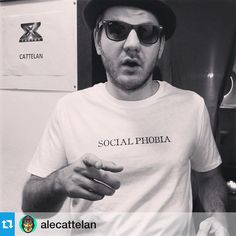 Alessandro Cattelan: from X Factor Italy wears Social Phobia tee. www.coreterno.com