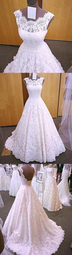 2018 Elegant A Line Lace Wedding Dress, Sleeveless Open Back Wedding Dresses, Bridal Dresses P1446