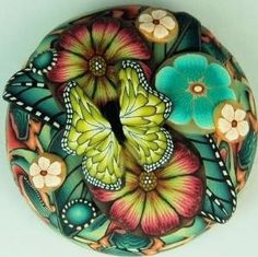 polymer clay flower cane bead by Sherry Clapp