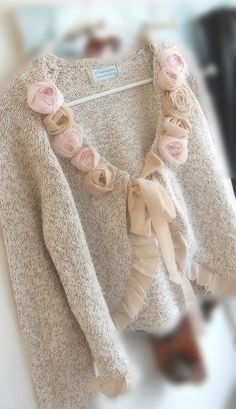 Tweedy Cotton Shabby Chic Crop Sweater Altered by OfLinenandLace