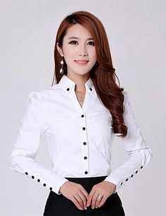shirt running on sale at reasonable prices, buy TLZC Elegant Women Career White Shirts Size Long Sleeve Button Design Clothing 2018 Office Classic Lady Casual Blouses from mobile site on Aliexpress Now! Ladies Shirts Formal, Formal Blouses, Blouses 2017, White Shirts Women, Blouses For Women, Mode Outfits, Fashion Outfits, Emo Fashion, Minimalist Fashion Women
