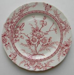 Alfred Meakin Medway Red Transferware Salad Plate Beautiful, airy transfer with Cherry or Dogwood Blossoms, berries and sweet butterflies around the rim. Measures: 7 Condition: Small chip on unde Red Plates, Vintage Plates, Vintage Dishes, Vintage Dinnerware, Vintage Pyrex, Antique China, Vintage China, Red And Pink, Red And White