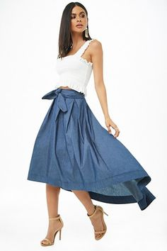 Chambray High-Low Sk