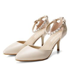 Crystal Bead Drill Metal Buckle Strappy Pointed Toe Slip On High Heels