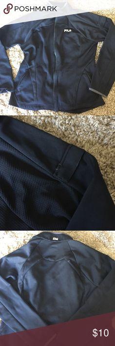 Fila athletic jacket. Figure flattering! Comfy FILA athletic jacket with arm pocket. Figure flattering and super comfy. Unfortunately no longer fits. Fila Jackets & Coats