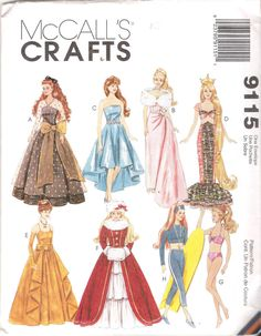 BARBIE SIZED FASHION DOLL CLOTHES SEWING PATTERN MCCALLS 9115 11.5 IN 29cm UNCUT