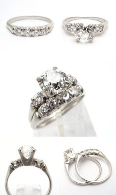 Vintage Wedding Rings Old | Green Eco Friendly Vintage Engagement Ring Bridal Set Old Euro Diamond ...
