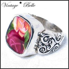 Sterling ring with Old Country Roses broken china in the center.  www.vbelle.com my talented sister-in-law