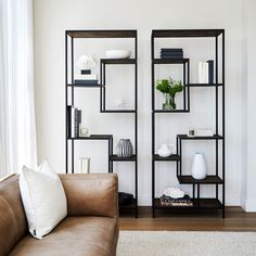 Featuring a handcrafted parquetry pattern inlay on each shelf, the Odessa Shelving Unit is perfect for the contemporary home. Living Room Shelves, Living Room Storage, Interior Design Living Room, Living Room Designs, Living Room Furniture, Living Room Decor, Kitchen Interior, Pinterest Home, Sofa Design